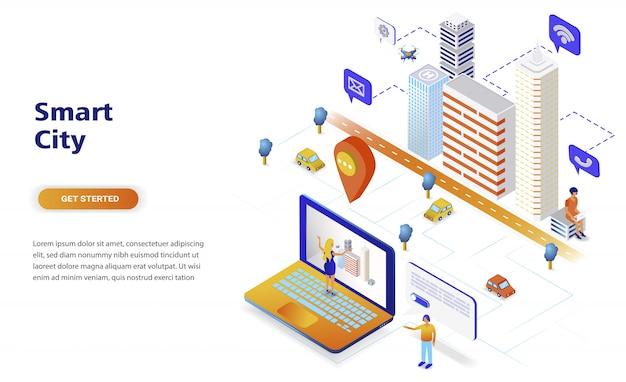 Conceito isométrico moderno design plano cidade inteligente Vetor Premium