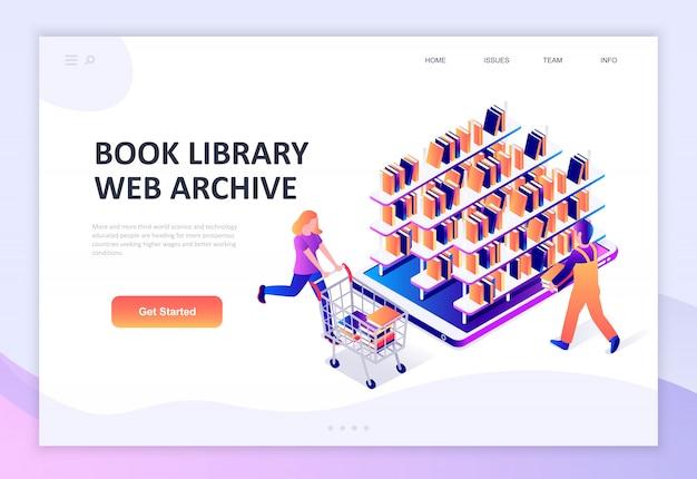 Conceito isométrico moderno design plano da biblioteca do livro Vetor Premium
