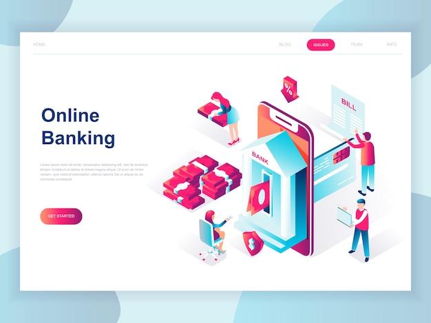 Conceito isométrico moderno design plano de banca on-line Vetor Premium