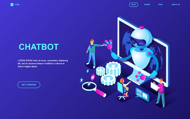 Conceito isométrico moderno design plano de chat bot Vetor Premium