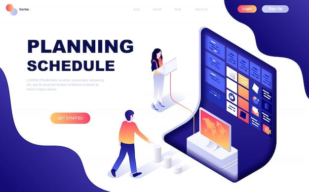 Conceito isométrico moderno design plano de cronograma de planejamento Vetor Premium