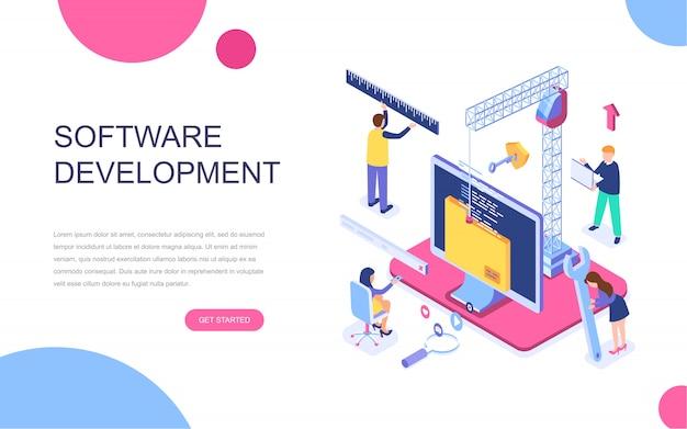 Conceito isométrico moderno design plano de desenvolvimento de software Vetor Premium
