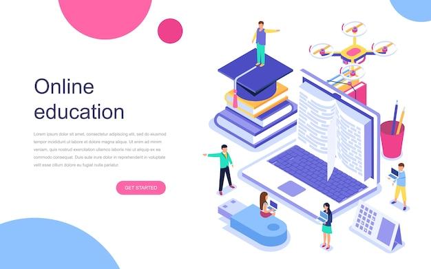Conceito isométrico moderno design plano de educação on-line Vetor Premium