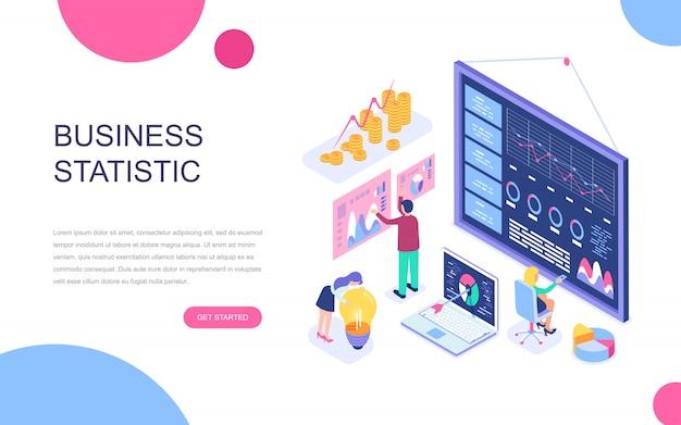 Conceito isométrico moderno design plano de estatística de negócios Vetor Premium
