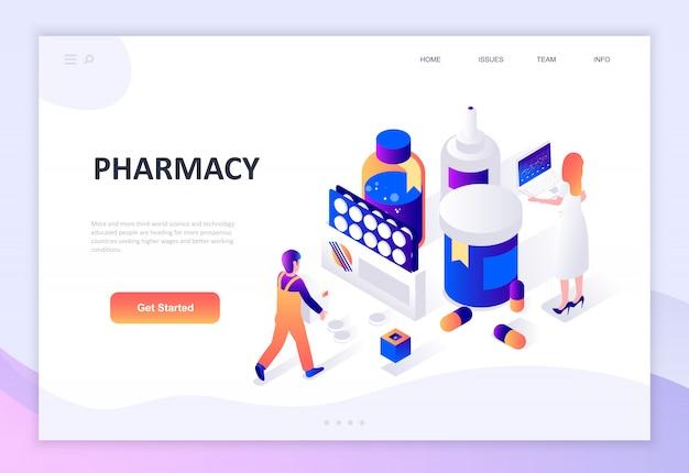Conceito isométrico moderno design plano de farmácia Vetor Premium
