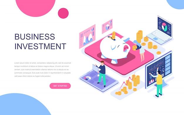 Conceito isométrico moderno design plano de investimento empresarial Vetor Premium