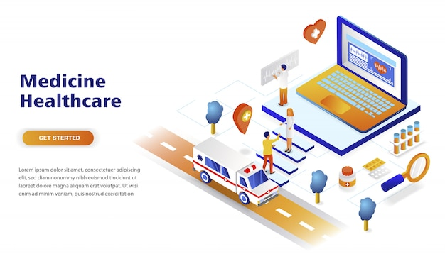 Conceito isométrico moderno design plano de medicina e saúde Vetor Premium