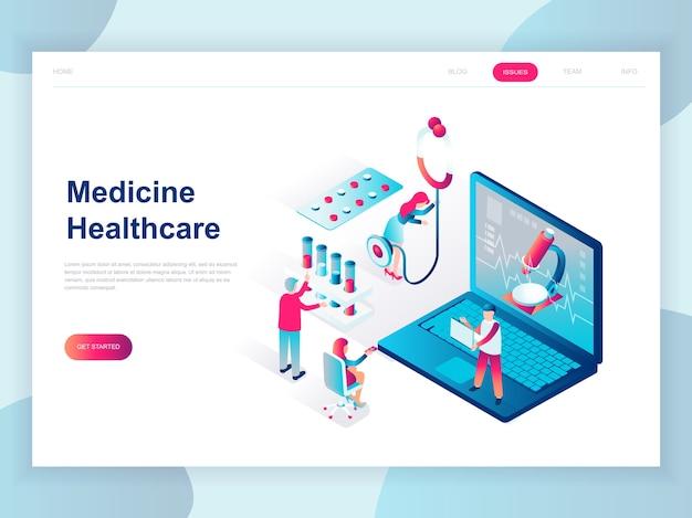 Conceito isométrico moderno design plano de medicina on-line Vetor Premium