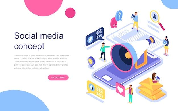 Conceito isométrico moderno design plano de mídias sociais Vetor Premium