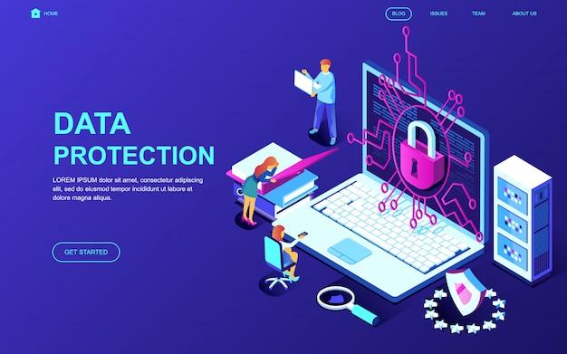 Conceito isométrico moderno design plano de proteção de dados Vetor Premium