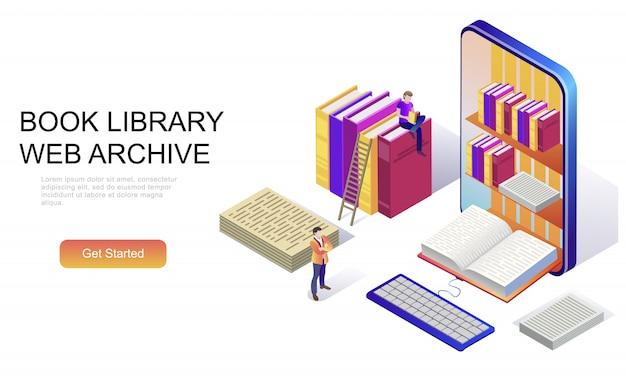 Conceito isométrico plano da biblioteca de livros Vetor Premium
