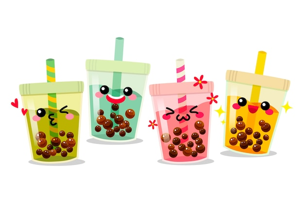 Conceito kawaii bubble tea Vetor Premium