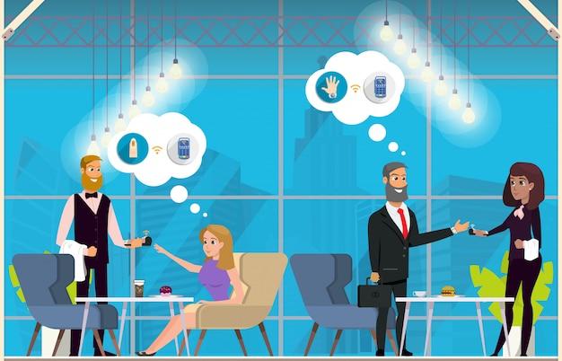 Conceito liso do vetor do uso de negócio da tecnologia de nfc Vetor Premium