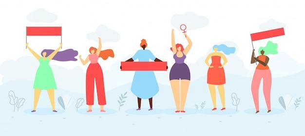 Conceito liso do vetor dos protestos públicos das feministas Vetor Premium