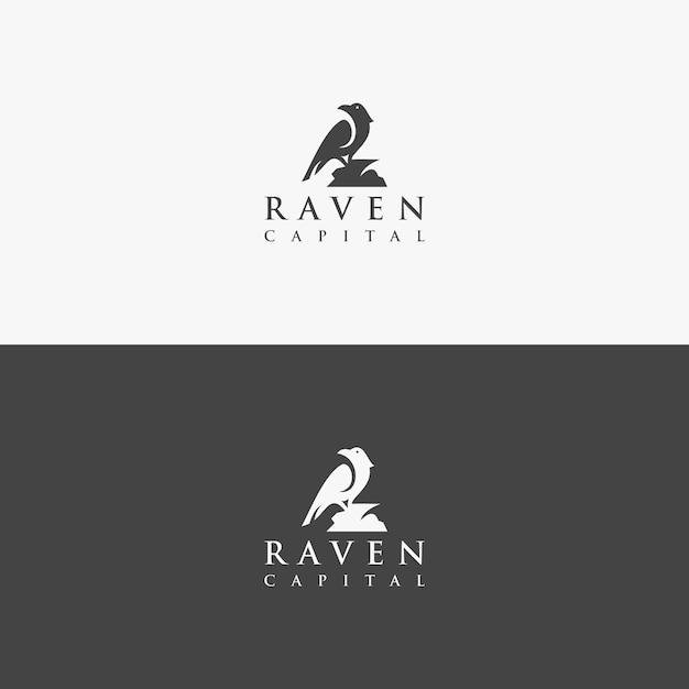 Conceito logotipo corvo vetor exclusivo Vetor Premium