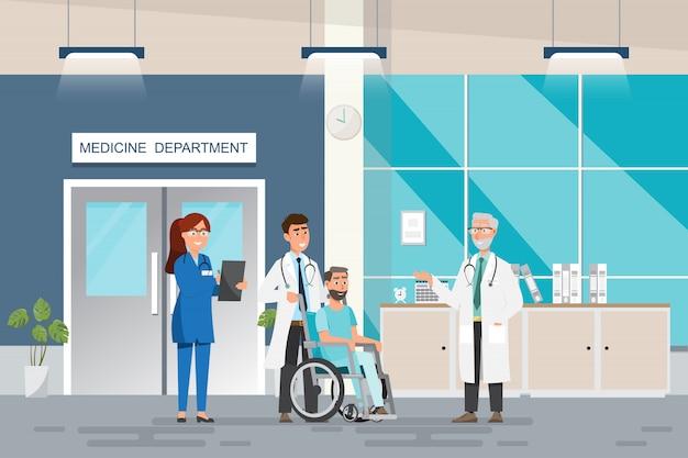Conceito médico com médico e pacientes em cartoon plana no corredor do hospital Vetor Premium