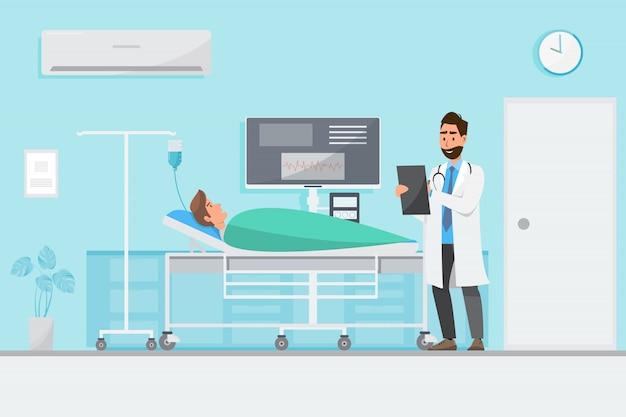 Conceito médico com médico e pacientes em desenhos animados plana no hall do hospital Vetor Premium