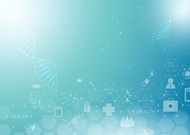 Conceito médico da inovação do teste padrão abstrato do ícone dos cuidados médicos e da ciência do fundo. Vetor Premium
