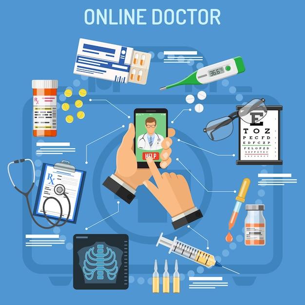 Conceito médico on-line Vetor Premium