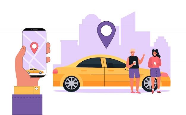 Conceito moderno carro de aluguel familiar, serviço de compartilhamento de carro em qualquer cidade local. Vetor Premium