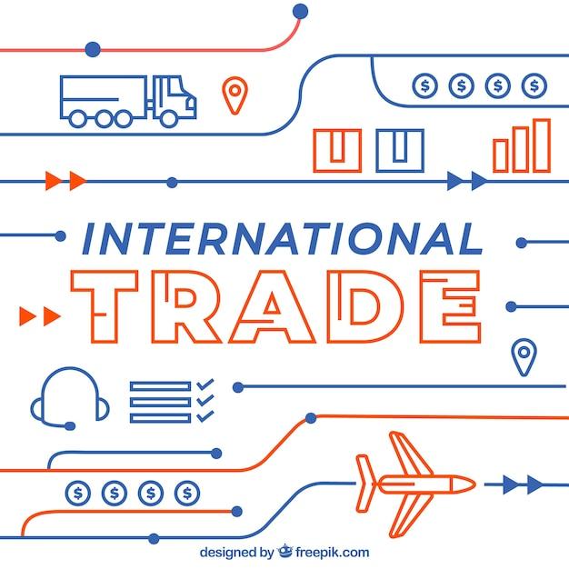 Conceito moderno de comércio internacional com design plano Vetor grátis