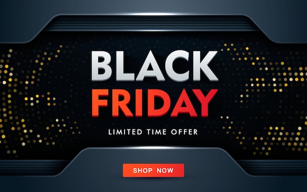 Conceito moderno de design de venda de sexta-feira negra com brilhos dourados Vetor Premium