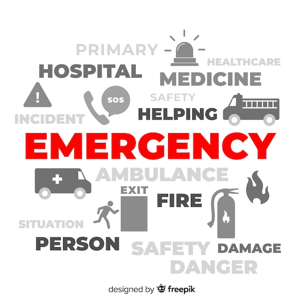 Conceito moderno de palavra de emergência com design plano Vetor grátis