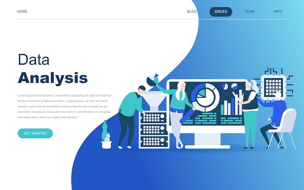 Conceito moderno design plano de big data analysis Vetor Premium