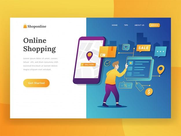 Conceito moderno design plano de compras on-line para o site e site móvel Vetor Premium