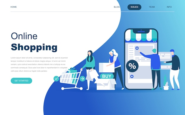 Conceito moderno design plano de compras on-line Vetor Premium