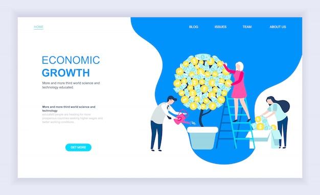 Conceito moderno design plano de crescimento econômico Vetor Premium