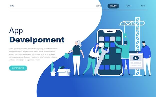 Conceito moderno design plano de desenvolvimento de aplicativos Vetor Premium