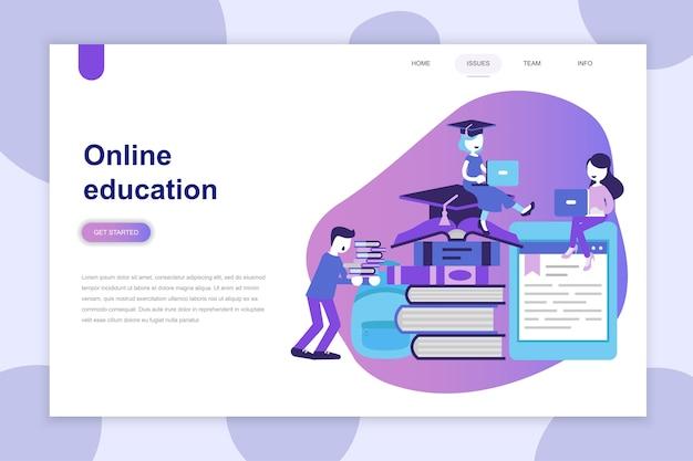 Conceito moderno design plano de educação on-line para o site Vetor Premium