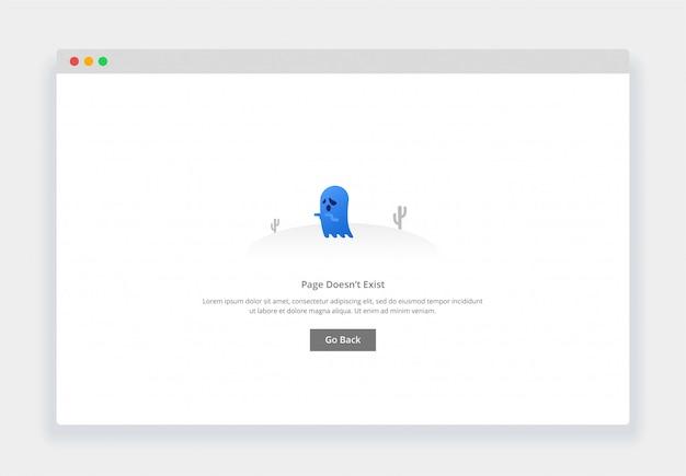 Conceito moderno design plano de fantasma, a página não existe para o site e site móvel. modelo de página de estados vazios Vetor Premium