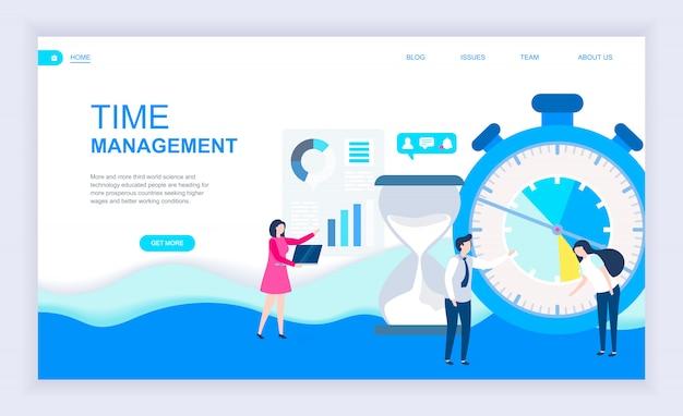 Conceito moderno design plano de gerenciamento de tempo Vetor Premium