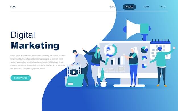 Conceito moderno design plano de marketing digital Vetor Premium