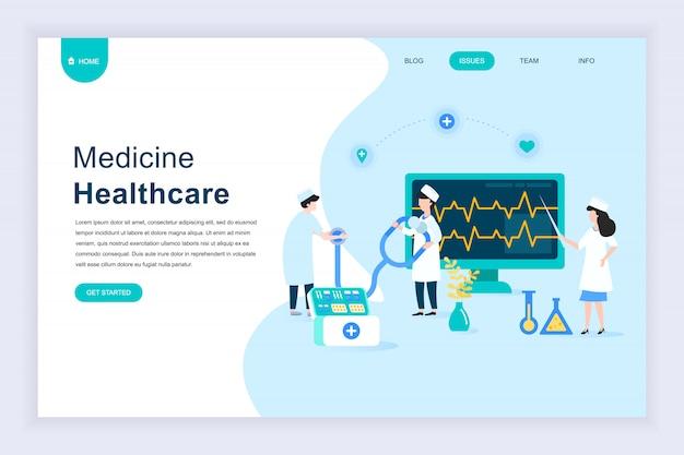 Conceito moderno design plano de medicina on-line para o site Vetor Premium