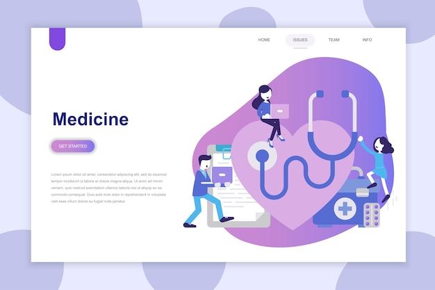 Conceito moderno design plano de medicina para site Vetor Premium