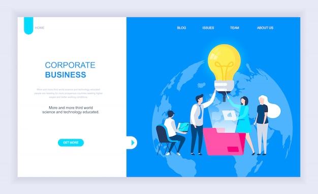 Conceito moderno design plano de negócios corporativos Vetor Premium