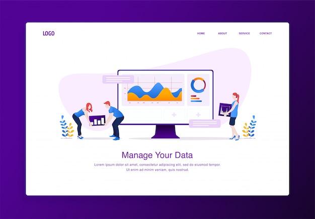 Conceito moderno design plano de pessoas personalizando dados na área de trabalho Vetor Premium
