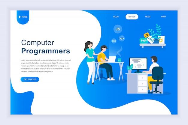 Conceito moderno design plano de programadores de computador Vetor Premium