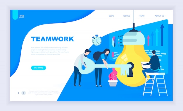 Conceito moderno design plano de projeto de trabalho em equipe Vetor Premium