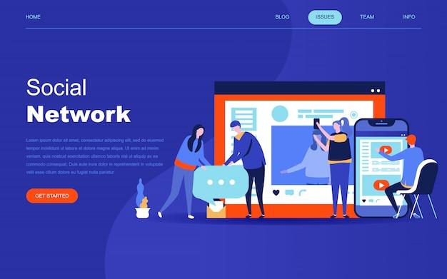 Conceito moderno design plano de rede social Vetor Premium
