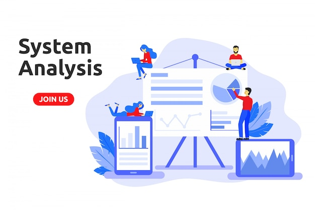Conceito moderno design plano para análise de sistema. Vetor Premium