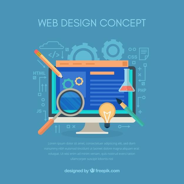 Conceito moderno web design com design plano Vetor grátis