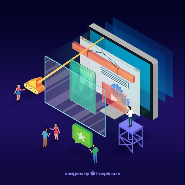 Conceito moderno web design com vista isométrica Vetor grátis