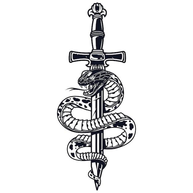 Conceito monocromático de tatuagem vintage Vetor grátis