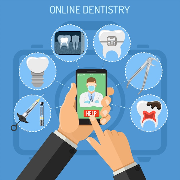Conceito odontologia on-line Vetor Premium