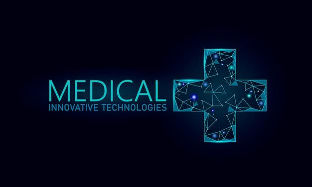 Conceito on-line médico símbolo transversal médico. aplicativo de consulta médica. bandeira de rede web hospital diagnóstico geométrico moderno hospital. chamando farmácia mercado fundo baixo poli Vetor Premium