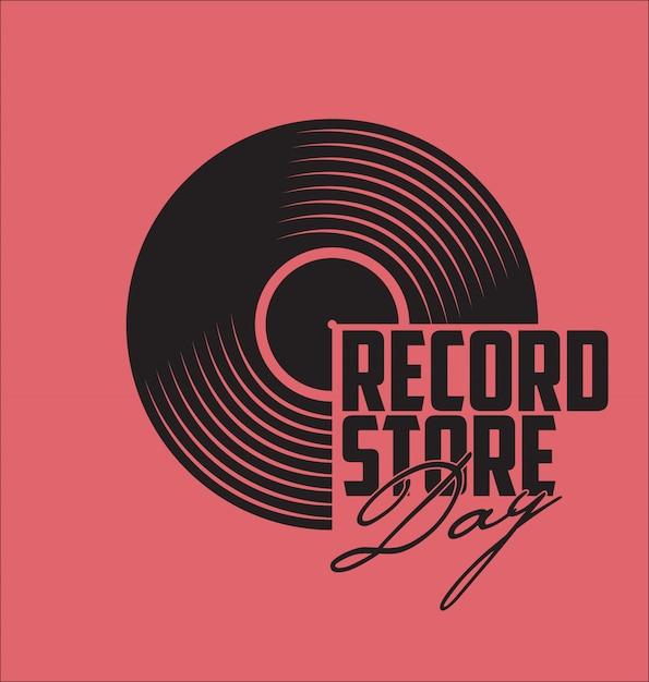 Conceito plana de dia de loja de discos de vinil preto Vetor Premium